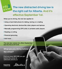 Buzz Article: Distracted Driving Law in Effect for Alberta, Canada