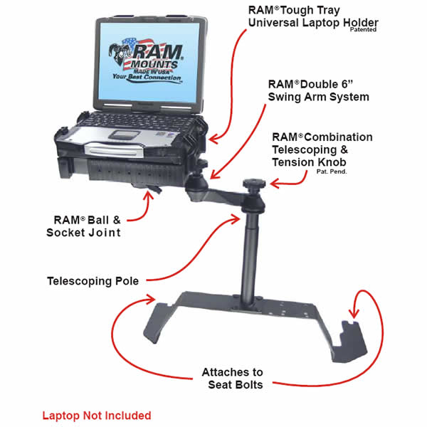 RAM Mount Chevrolet GMC Laptop Vehicle Mount RAM-VB-103-SW1