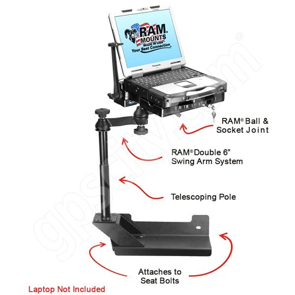 RAM Mount Dodge RAM Dual Arm CF29 and CF30 Riser Laptop Vehicle Mount