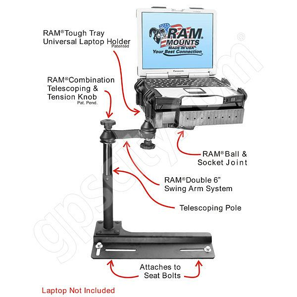RAM Mount Chevrolet Ford Laptop Vehicle Mount RAM-VB-106-SW1