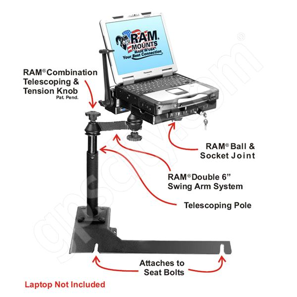 RAM Mount Chevrolet Impala CF29 Toughbook Laptop Vehicle Mount