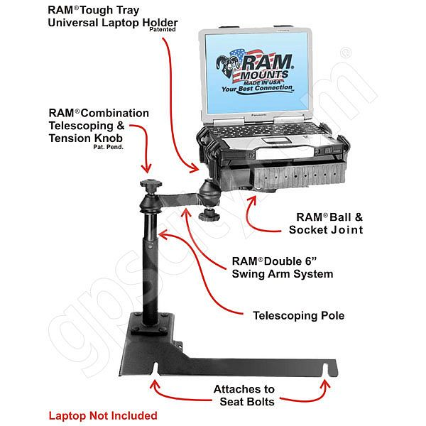 RAM Mount Chevrolet Impala Dual Arm Laptop Vehicle Mount