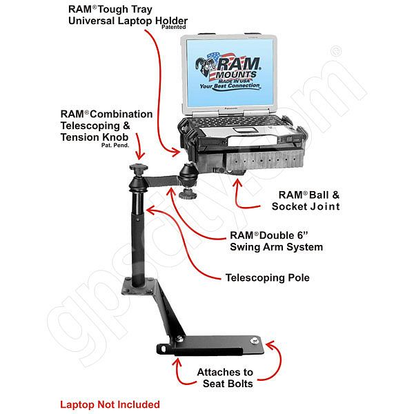 RAM Mount Ford Explorer Dual Arm Laptop Vehicle Mount