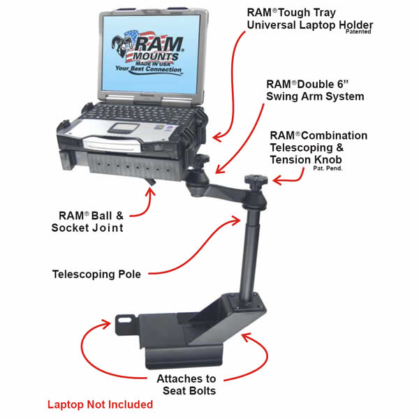 RAM Mount Ford Ranger Dual Arm Laptop Vehicle Mount