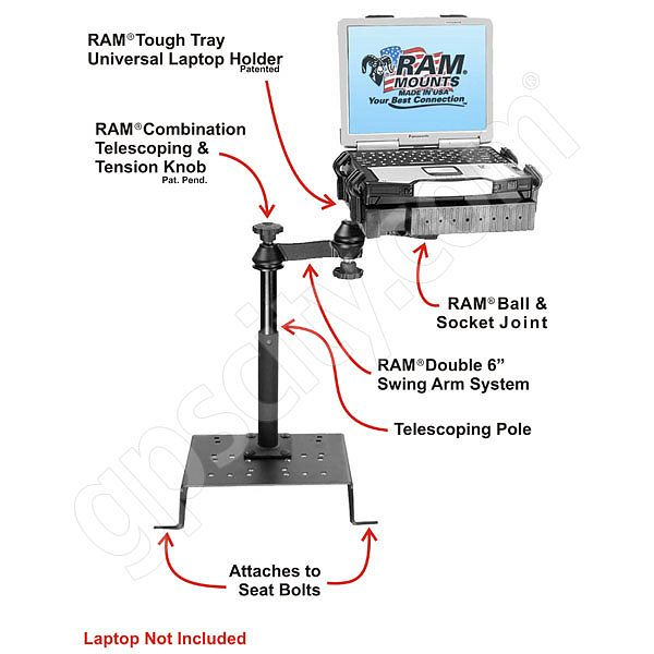 RAM Mount Chrysler Dodge and Ford Dual Arm Laptop Vehicle Mount