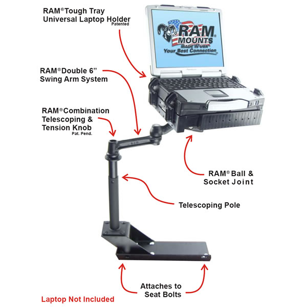 RAM Mount Chevrolet Colorado Dual Arm Laptop Vehicle Mount