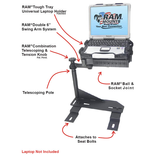 RAM Mount Chrysler and Dodge Dual Arm Laptop Vehicle Mount