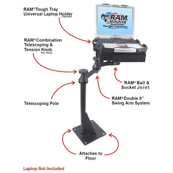 RAM Mount Universal Laptop Vehicle Mount RAM-VBD-122-SW1