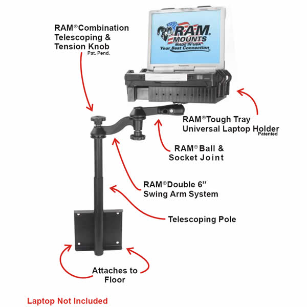 RAM Mount Dodge and Chrysler Dual Arm Laptop Vehicle Mount
