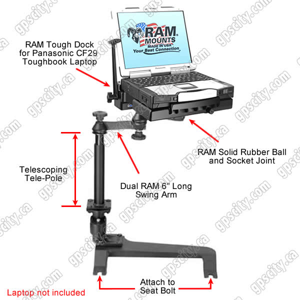RAM Mount Chevrolet GMC Hummer Dual Arm CF29 30 Laptop Vehicle Mount