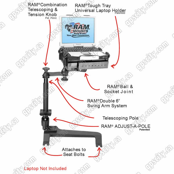 RAM Mount Chevrolet GMC Hummer Dual Arm Laptop Vehicle Deluxe Seat Mount
