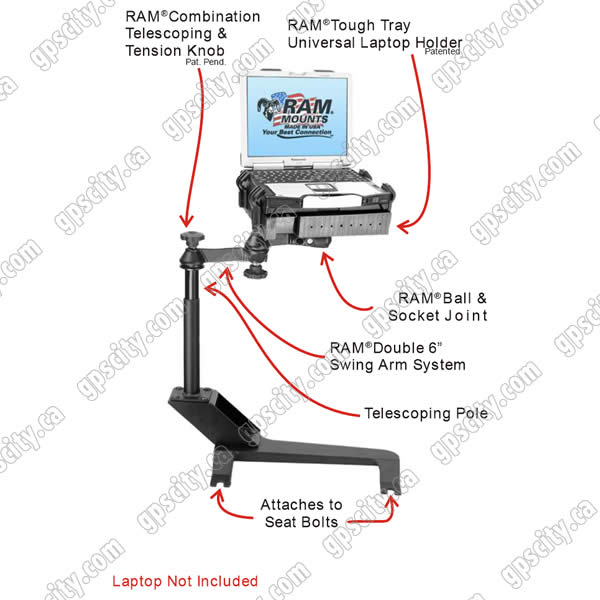 RAM Mount Chevrolet and GMC Dual Arm Laptop Vehicle Deluxe Seat Mount
