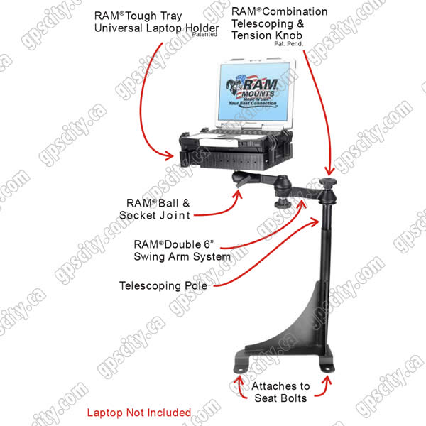 RAM Mount Chevrolet Astro Van Dual Arm Laptop Vehicle Mount