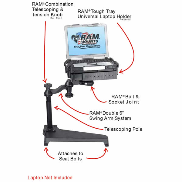 RAM Mount Toyota Dual Arm Laptop Vehicle Mount