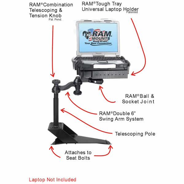 RAM Mount Toyota Tacoma and 4Runner Dual Arm Laptop Vehicle Mount