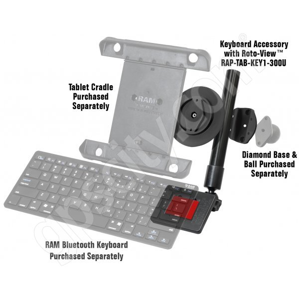 RAM Mount Universal Roto-View Tablet Keyboard Mount RAP-TAB-KEY1-300U Additional Photo #1
