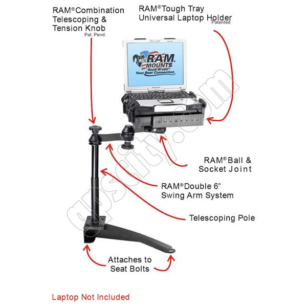 RAM Mount Jeep Grand Cherokee Dual Arm Laptop Vehicle Mount