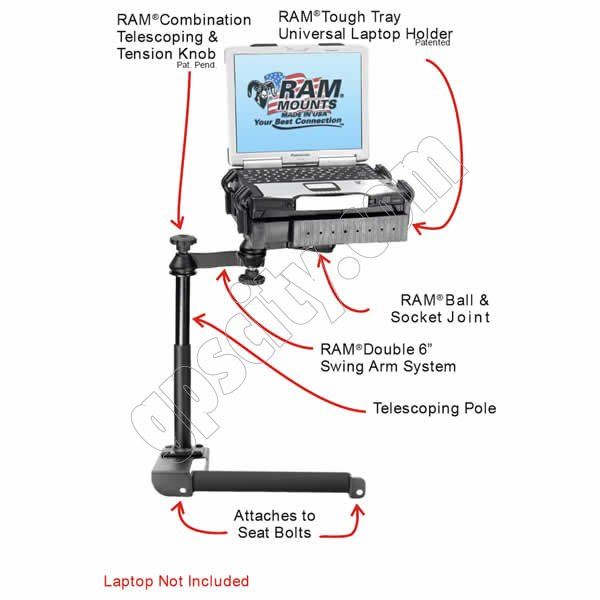 RAM Mount Dodge Stratus Dual Arm Laptop Vehicle Mount