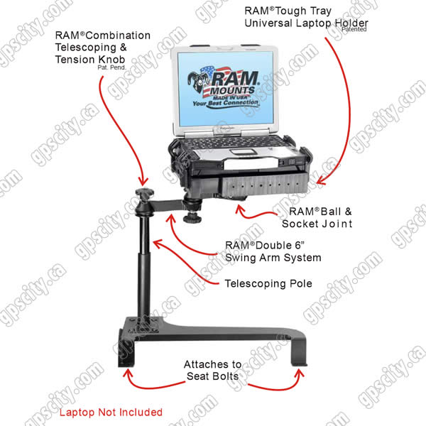 RAM Mount Toyota Highlander Dual Arm Laptop Vehicle Mount