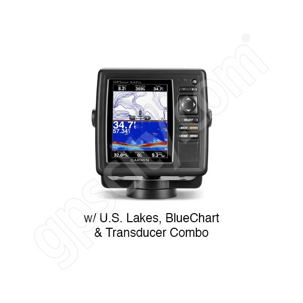 Garmin GPSMAP 547xs with Preloaded U.S. Lakes and U.S. BlueChart g2 and Transducer
