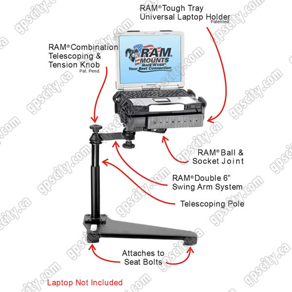 RAM Mount Ford Escape Dual Arm Laptop Vehicle Mount