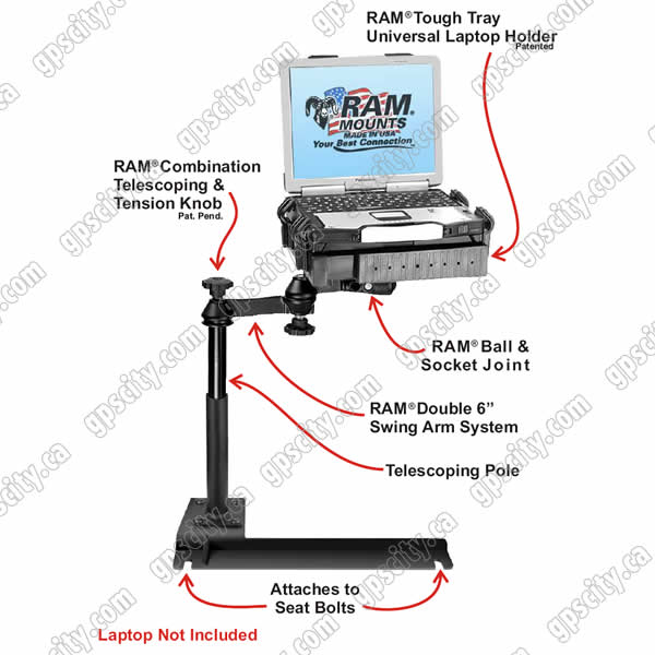 RAM Mount Hyundai and Kia Dual Arm Laptop Vehicle Mount