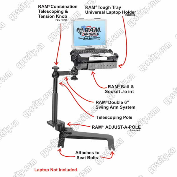 RAM Mount Chevrolet Tahoe Dual Arm Laptop Vehicle Mount