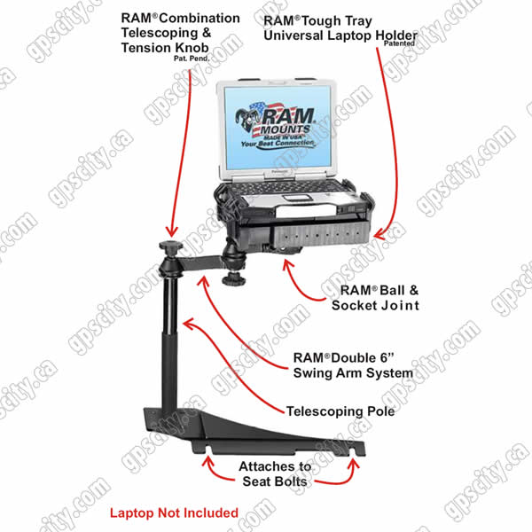 RAM Mount Chevrolet Impala Dual Arm Laptop Vehicle Mount 2006
