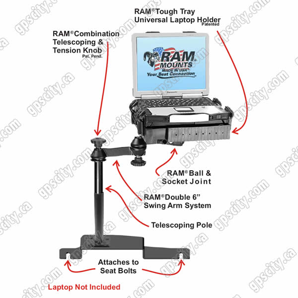 RAM Mount Ford Vehicle Dual Arm Laptop Vehicle Mount