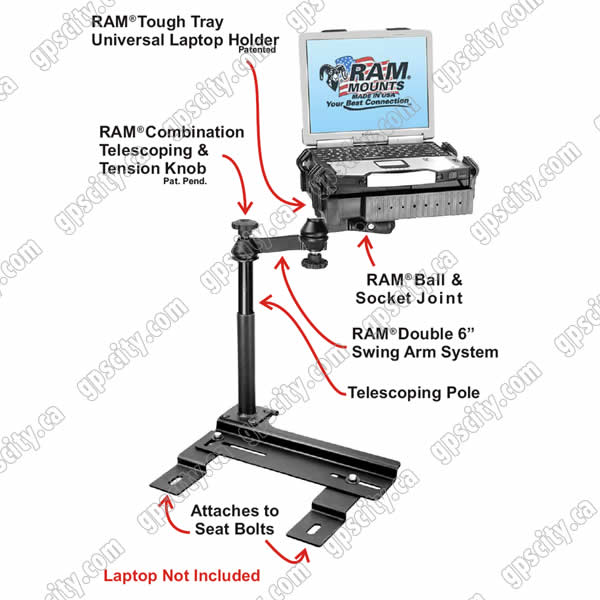 RAM Mount Chrysler PT Cruiser Dual Arm Laptop Vehicle Mount