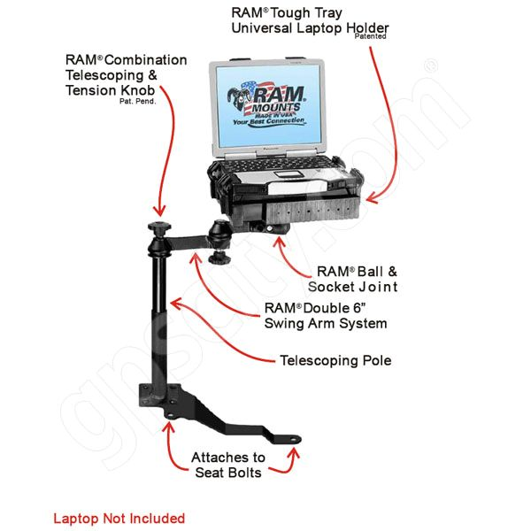 RAM Mount Jeep Wrangler Vehicle Laptop Mount RAM-VB-170-SW1