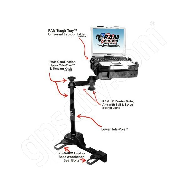 RAM Mount Chevrolet Caprice Police Patrol Dual Arm Laptop Vehicle Mount