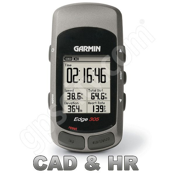 Garmin Refurbished Edge 305 GPS Bundle with CAD and HR Sensors