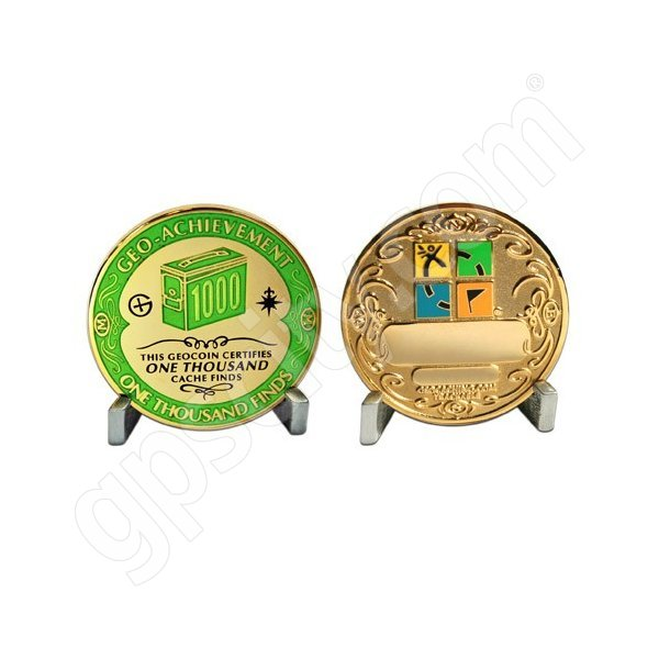Geocaching Official 1000 Finds Geocoin Achievement Award Set
