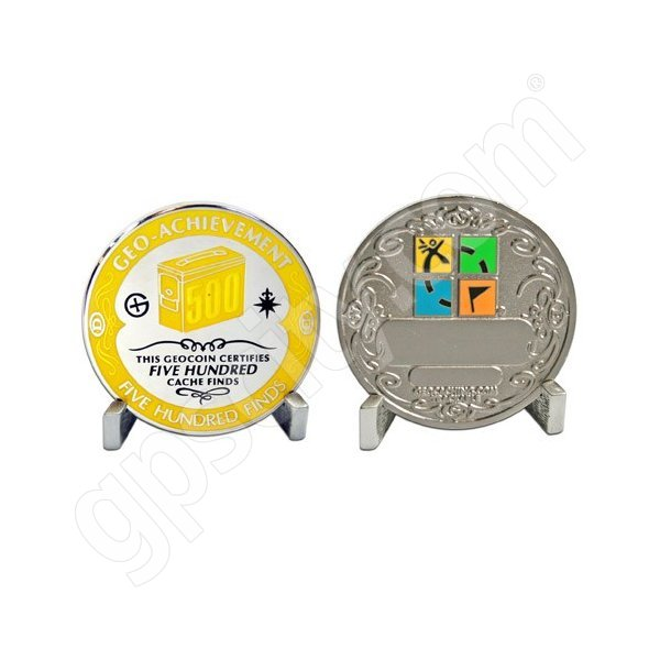 Geocaching Official 500 Finds Geocoin Achievement Award Set