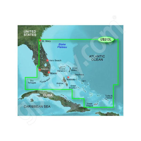 microSD//SD Bahamas Garmin BlueChart G2 HUS513L-HXUS513L Jacksonville