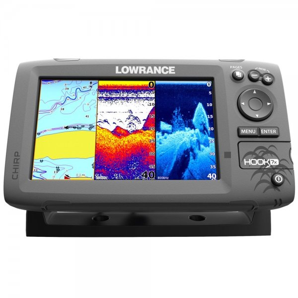 lm hook7bt hook 7 chartplotter and fishfinder with mid high downscan transducer  at virtualis.co