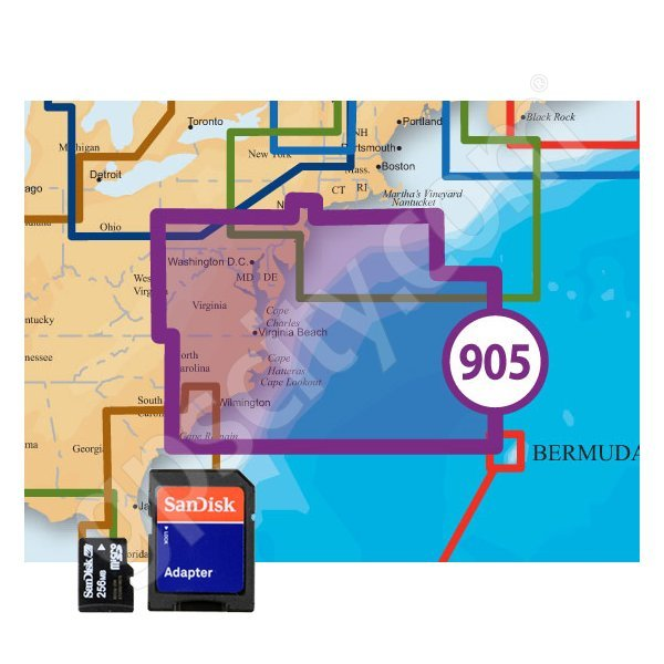 US Mid Atlantic and Canyons Platinum Plus 905PP microSD with SD Adapter