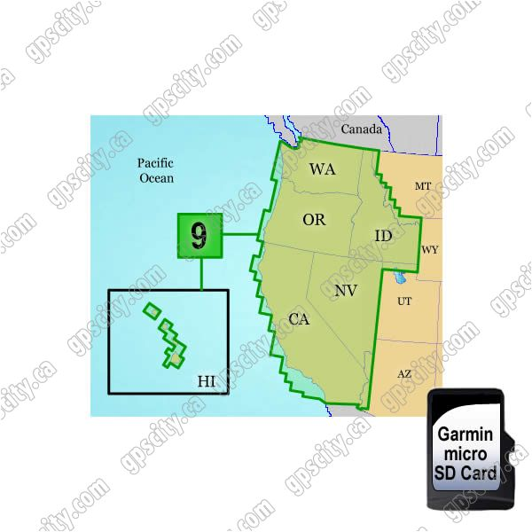 Garmin TOPO US 100K West Coast and Hawaii microSD Card Region 9