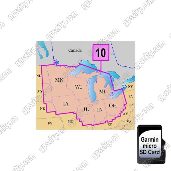 Garmin TOPO US 100K Western Great Lakes microSD Card