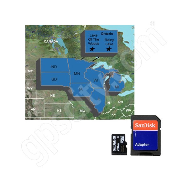 Garmin Upper Midwest Fishing Guide microSD with SD Adapter