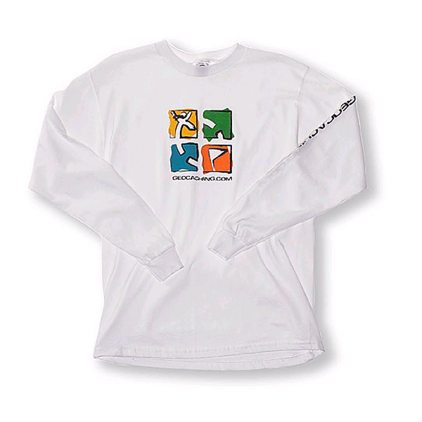 Geocaching Crayon T-Shirt White Long XL