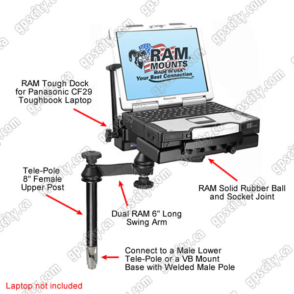 RAM Mount Tele-Pole System with Plastic CF29 Tough Dock