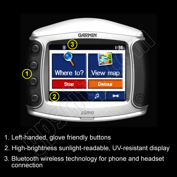 Click for larger view of the Garmin Zumo 550 Front View