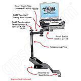 RAM Mount Chevrolet and GMC Dual Arm Vehicle Laptop Mount