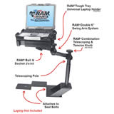 RAM Mount Ford F150 Dual Arm Laptop Vehicle Riser Mount
