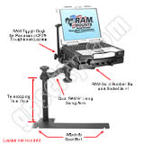 RAM Mount Dodge Dual Arm CF29 Laptop Vehicle Mount