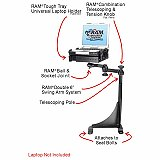 RAM Mount GMC and Chevy Vans Dual Arm Laptop Vehicle Mount