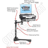 RAM Mount Police Dodge Magnum and Charger Dual Arm Laptop Vehicle Mount