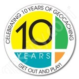 Geocaching 10 Years of Geocaching Stickers